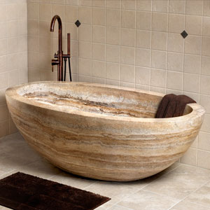 Look at this beautiful travertine tub...how decadent